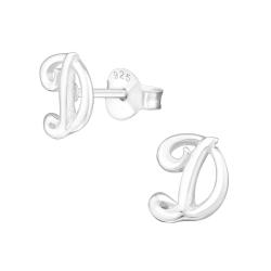 Buchstaben Ohrstecker 925 Sterling Silber mit D