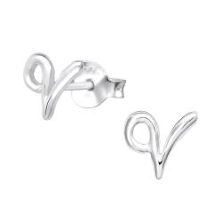 Buchstaben Ohrstecker 925 Sterling Silber mit V