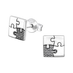 Ohrstecker 925 Sterling Silber mit eckigem Puzzle
