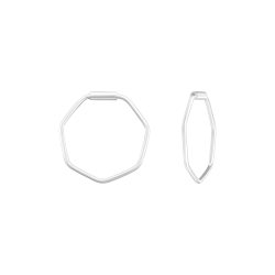Creolen Ohrringe 925 Sterling Silber Hexagon 14mm