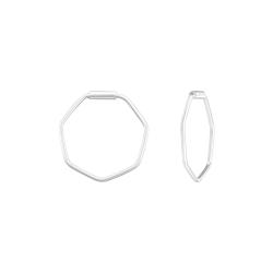 Creolen Ohrringe 925 Sterling Silber Hexagon 14mm