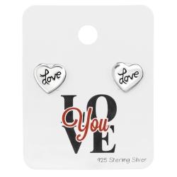 "925 Sterling Silber Ohrstecker ""Love"" auf Schmuckkarte ""Love You"""