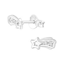 Ohrstecker 925 Sterling Silber Sternschnuppe mit Kristallen