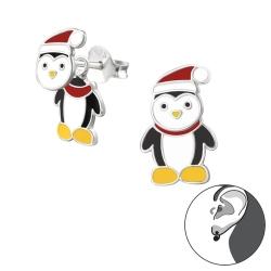 Ohrstecker Ear Jacket 925 Sterling Silber Pinguin mit Weihnachtsmütze