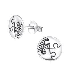 Ohrstecker 925 Sterling Silber mit rundem Puzzle