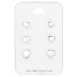 Ohrstecker Set 925 Sterling Silber mit Herzen