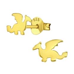 Ohrstecker 925 Sterling Silber vergoldet mit Drachen