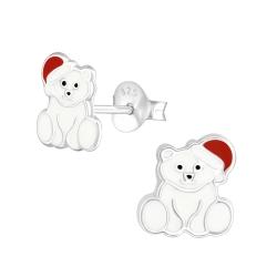 Ohrstecker 925 Sterling Silber mit weihnachtlichem Eisbär
