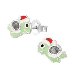 Ohrstecker 925 Sterling Silber mit weihnachtlicher Schildkröte