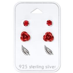Ohrstecker Set 925 Sterling Silber Rosen