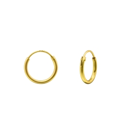 Creolen Ohrringe 925 Sterling Silber vergoldet 10mm