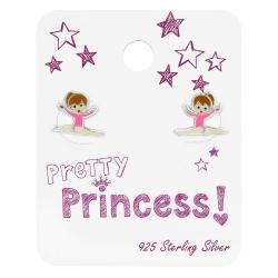 "925 Sterling Silber Ohrstecker Turnerin auf Schmuckkarte ""Pretty Princess"""