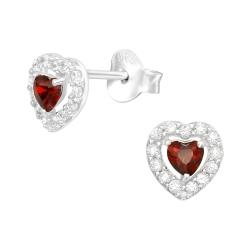 925 Sterling Silber Ohrstecker Herz mit Zirkonia-Steinen