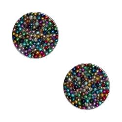 Ohrstecker 925er Sterling Silber mit kleinen Kugeln mehrfarbig 4mm