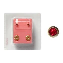 Erstohrstecker Chirurgenstahl vergoldet Sterile Ohrstecker Zarge mit Stein in rot 3mm