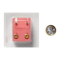 Erstohrstecker Chirurgenstahl vergoldet Sterile Ohrstecker Zarge mit Stein in transparent 3mm