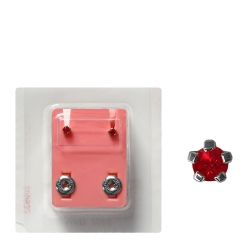 Erstohrstecker Sterile Ohrstecker Chirurgenstahl synthetischer Stein rot 3mm