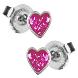 Chirurgenstahl Ohrstecker Glitterline mit Herz in pink Studex Sensitive