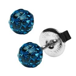 Erstohrstecker Shamballa in blau 4,5mm